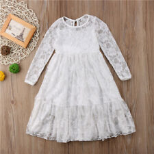 New Kids Girls Long Sleeve Party Lace Wedding Princess Gown Pageant Flower Dress