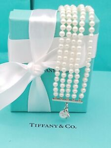"Tiffany & Co Ziegfeld 5 Strands bead Pearl Bracelet 7.25"" Sterling Silver Rare"