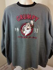 "Grumpy Sweatshirt ""Just Blowing Off Steam""Men's Disney Store Size XLGray Fleece"