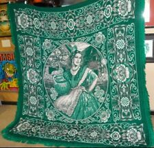 """Mexican Heritage Green White Blanket Throw 85"""" x 90"""" Knit Woven Traditional"""