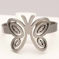 New Stainless Steel Silver Butterfly Plated Ring Womens Band (Size L to W)