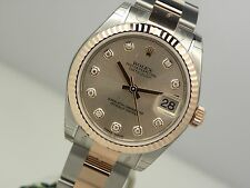 Rolex DATEJUST 178271 Midsize Steel & Rose Gold Pink Diamond Dial Oyster 31MM