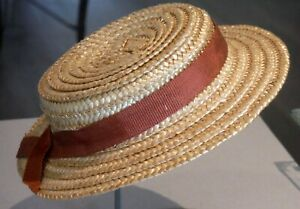 """Vintage NOS Straw Doll Hat Made in Japan Rust Ribbon 10"""" around inside 1605"""