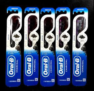 Oral-B Charcoal Bristles Medium Black Manual Whitening Toothbrushes (LOT OF 5)