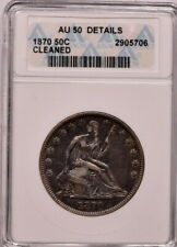 1870 50c Seated Half Dollar ANACS Au 50 Details Cleaned