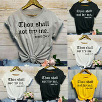 Womens Girls Fashion Casual O-Neck Letter Print Short Sleeve T-Shirt Top Blouses