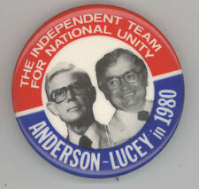 JOHN ANDERSON President POLITICAL Pinback PIN Button BADGE Jugate LUCEY Illinois