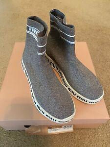 New sz 8 / 38 Miu Miu Grey Silver Glitter Logo Sock Slip On Sneaker Boot Shoes