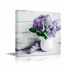 "Canvas Wall Art - Still Life Lilacs in a White Porcelain Vase  - 12"" x 12"""