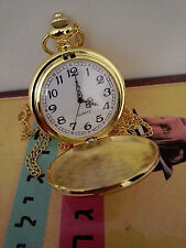 Antique Polished Gold White Men's Quartz Pocket Watch With Chain + Extra Battery