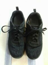 Skechers Black Trainers Girl  Size 4 Used