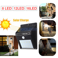 16/12/8 LEDs Solar Motion Sensor Light Garden Wall Solar Power Security Lamp