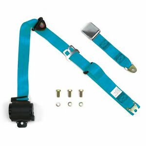 3Pt Electric Blue Retractable Seat Belt Airplane Buckle - Each