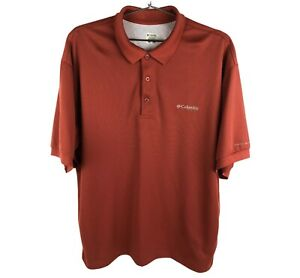 COLUMBIA PFG Mens Short Sleeve Polo Shirt Knit Embroidered LOGO RED Size L NWOT