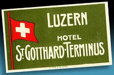 ALTER KOFFERAUFKLEBER | LUGGAGE LABEL 40er LUZERN ST. GOTTHARDS-TERMINUS | SWISS