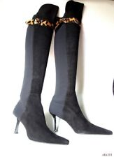 new STUART WEITZMAN 50/50 black suede stretch back over-the-knee BOOTS 8.5