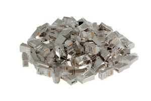 RJ45 Cat6 Modular Plugs/Connectors for STP Solid Wire - Qty 100, Lifetime Wty