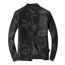 Men's Floral Embroidery Jacket Baseball Long sleeve Stand Collar Outwear Slim LL