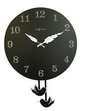 Pendulum Clock Black Wall with Birds Las Wingbirg round Nextime