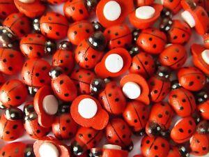 100pcs Wooden mini Ladybird embellishments, self adhesive-crafts-home decor