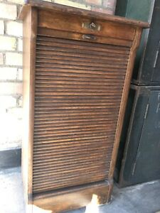 Antique oak tambour roll front filing cabinet approx 1920 Key Inc