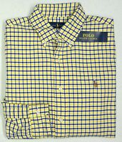 NWT $98 Polo Ralph Lauren LS Oxford Shirt Mens Size Small  Yellow Blue NEW