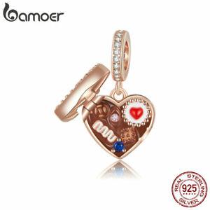 BAMOER European S925 Sterling Silver Charm CZ Chocolate Gift Box For Bracelet