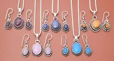 Amethyst & More Mix Shape 5pcs 925 Sterling Silver Plated Pendant Earring Sets