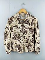 Woolwich Women's Vintage Button Up Collared Floral Shirt Size M Black Brown