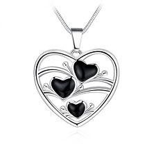 Women Lady 925 Sterling Silver Heart Flower Pendant Necklace Chain Jewelry