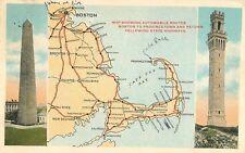 1928 Auto Map of Cape Cod, Massachusetts Postcard