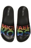 Women MK Michael Kors Gilmore Slide Slip On Sandals Rhinestone Black/Multi Color