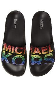 Women MK Michael Kors Gilmore Slide Slip On Sandals Rhinestone Black/Multi Color