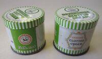 Devonshire Clotted Cream Tins, Decorative Kitchen Tins, Lot of 2, Golden Barque