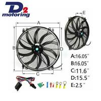 """16"""" INCH THERMO FAN 12V LOW PROFILE CHROME HIGH PERFORMANCE+MOUNTING KIT+REPLAY"""