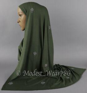 Semi Maxi Cotton Jersey Hijab Scarf Muslim Headcover Silver Stones  170X70 CM