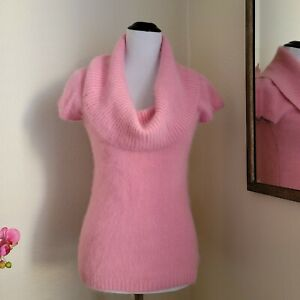 BEBE Pink Angora Cowl Turtleneck Short Sleeve Sweater M