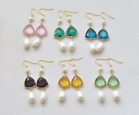 D0439 Trigon Faceted Clean Crystal White Rice Pearl Dangle Earring