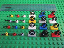 LEGO CAR PARTS - 12 x Steering Wheels + 12 x Gear Sticks mixed colours