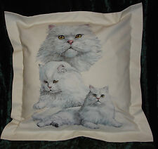 Hand crafted White Persian Cat cushion cover