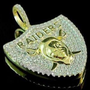 14K Yellow Gold Over Silver Men's Round Diamond Oakland Raiders Charm Pendant