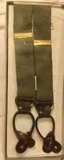 Trafalgar England Leather Tab Suspenders Adjusters Olive Green Plaid