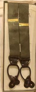 Trafalgar England Leather Tab Suspenders Adjusters Olive Green Plaid