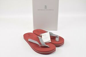 Brunello Cucinelli NWB Thong Flip Flop Sandals Size 42 9 US In Red & Gray