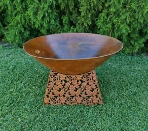 Outdoor Garden Patio Heating Round Steel Fire Bowl Pit Pattern Base Rustic Brown
