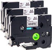 6x Schriftbandkassette kompatibel für Brother TZe-241 18mm schwarz auf weiß New