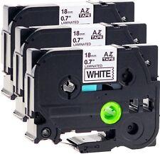 3x Schriftbandkassette kompatibel für Brother TZe-241 18mm schwarz auf weiß