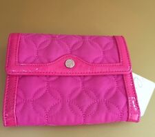 Vera Bradley RARE City Wallet Pink Nylon Trifold NWT Patent Leather Like Trim