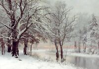Oil Anders Andersen-Lundby - A Winter's Evening stunning snow landscape canvas