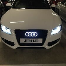 Audi Kühlergrill Emblem LED Weiß Auto Zeichen Beleuchtetes Logo Badge Ringe DRL